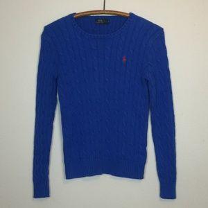 POLO Ralph Lauren Blue Cotton Cable Knit Sweater M